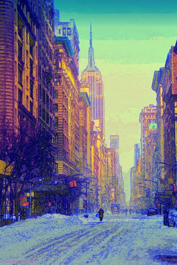 Blizzard On Fifth Av New York City Empire State Building Etsy