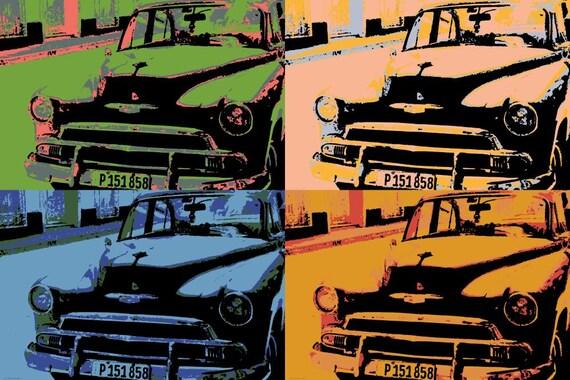 Chevrolet Pop art Vintage Cars Wall Art Canvas Havana Cuba   Etsy