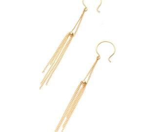 a20484916 Delicate Chain Fringe Earring, Long Minimal Earring Long Chain Earring Boho  Fringe Earring, Metal Fringe Lightweight Earring - Comet Earring.  FavorJewelry