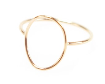 39e89d5e9 Thin Gold Circle Ring, Gold Wire Open Circle, Open Oval Ring, Minimal  Stacking Ring, Dainty Jewelry - Shaped Oval Ring