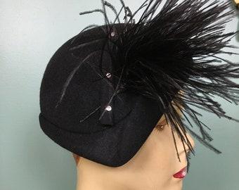 1940s hat, black wool felt, vintage 40s hat, feather hat, cloche style, rhinestone hat, hollywood glamour, film noir, avant garde, polack