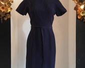 1950s wiggle dress, vintage 50s dress, navy silk dress, size small, shirt sleeve dress, hourglass dress, 26 waist, mrs maisel