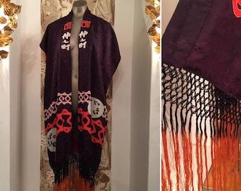 aea60ca4f 1920s silk kimono, vintage dressing gown, flapper robe, kimono with fringe,  novelty print kimono, size medium, blue and red