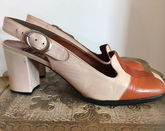 081a9a44bf 1970s slingback shoes, mod vintage shoes, patchwork shoes, 70s leather shoes,  size 8 1/2, retro shoes, 1970s heels