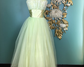 Vintage 50s Evening Gown Gold Brocade Dress 1950s Evening Dress Gold Prom Dress Chiffon Train 1950s Prom Dress Princess Dress Gold 50s Dress
