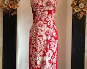 Vintage Hawaiian dress, tropical dress, rockabilly dress, red and white floral, cotton sundress, 1950s style dress, 28 waist