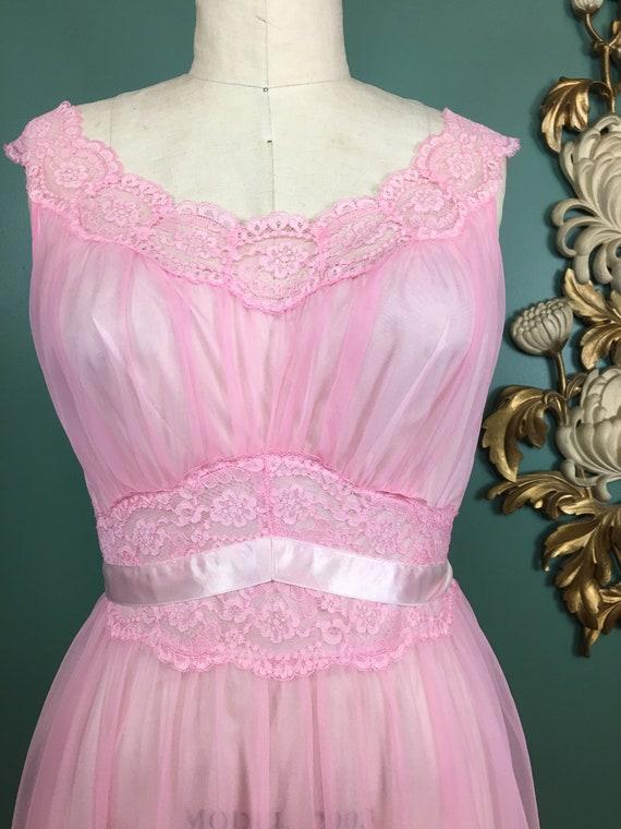 1960s nightgown, pink nylon nightgown, vanity fai… - image 2
