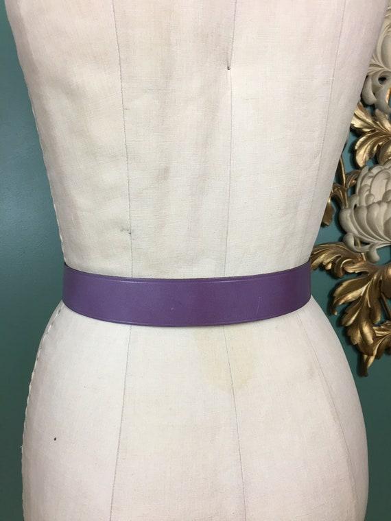 purple leather belt, 1950s novelty belt, Calderon… - image 8