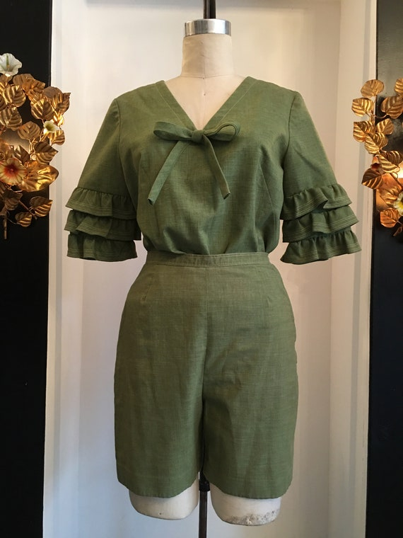 1960s short set, Vintage 60s outfit, 60s two piece