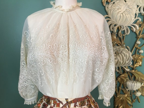 1950s ivory blouse, sheer nylon blouse, embroidere