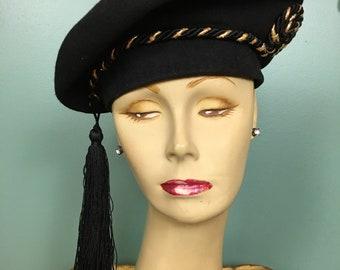 1940s wool hat, black beret, vintage 40s hat, avant garde style, hat with tassel, statement hat, New York creations, gold braided, tam hat