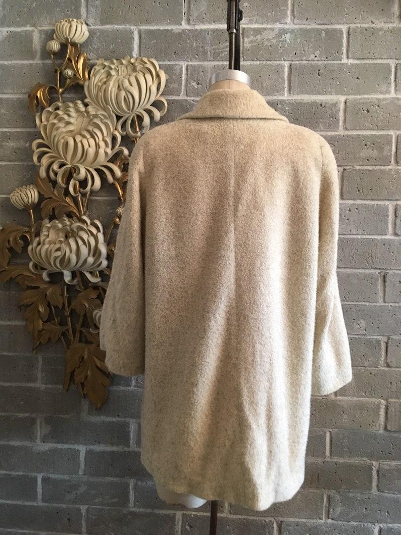 1950s swing coat rockabilly coat trapeze coat cropped 50s coat fuzzy 50s coat vintage a line coat buttercream yellow size medium