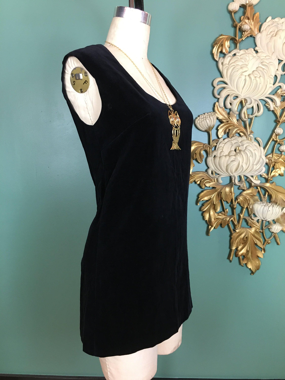 60s -70s Jewelry – Necklaces, Earrings, Rings, Bracelets 1960S Mini Dress, Black Velvet Vintage 60S Mod Size Medium, Low Cut Micro 36 Bust, Sleeveless Shift $23.00 AT vintagedancer.com
