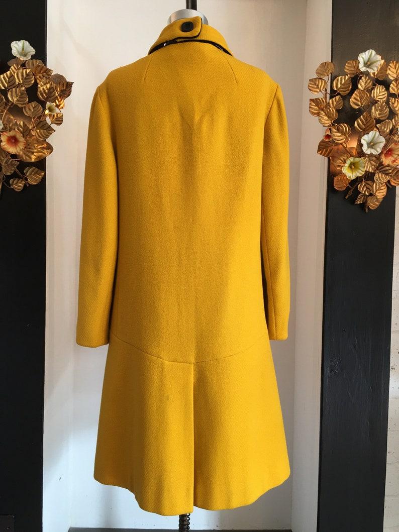 Statement coat SIze large High neck coat 1960s wool coat Mod 60s coat Bright yellow coat Vintage 60s coat 38 40 bust
