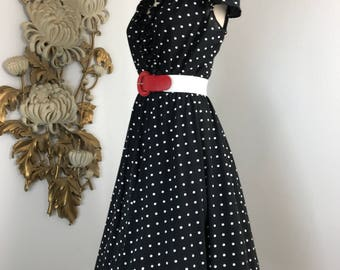 1970s dress polka dot dress size medium lady carol dress long sleeve dress ruffled dress 36 bust vintage dress 50s style dress