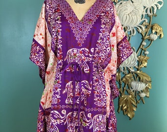 1990s tunic top, kaftan style, vintage blouse, batik print, drawstring waist, indian silk, size medium, kimono sleeves, ethnic, bohemian