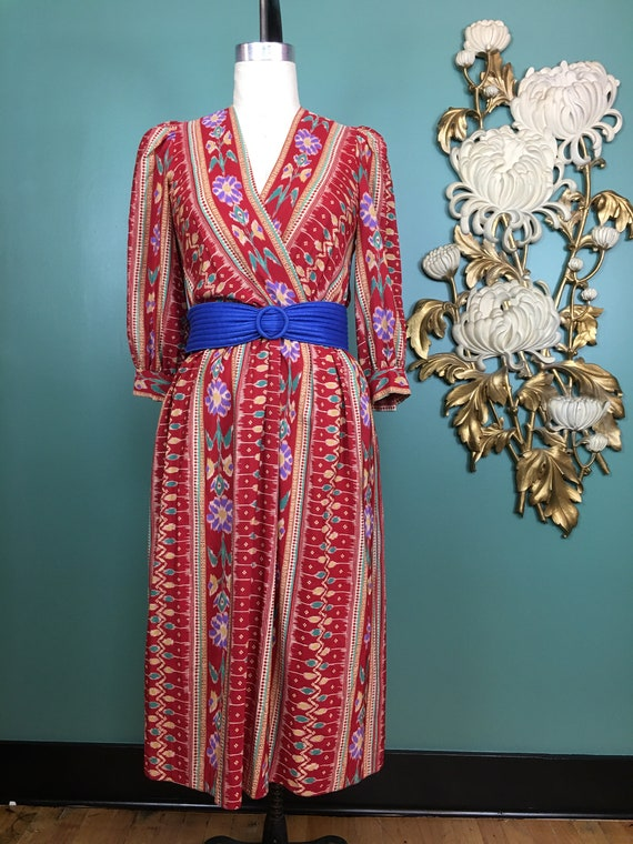1980s rayon dress, border print dress, vintage 80s