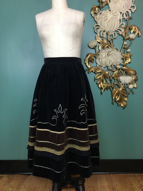 prue acton skirt, vintage 80s skirt, black velvet… - image 3
