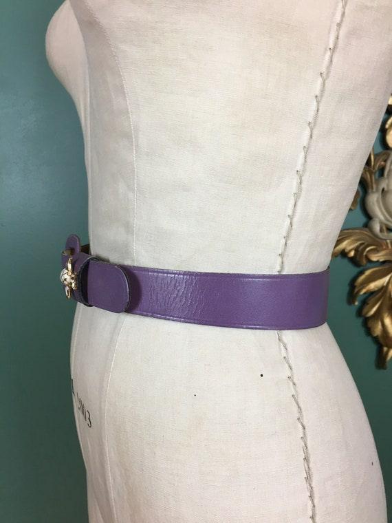 purple leather belt, 1950s novelty belt, Calderon… - image 7