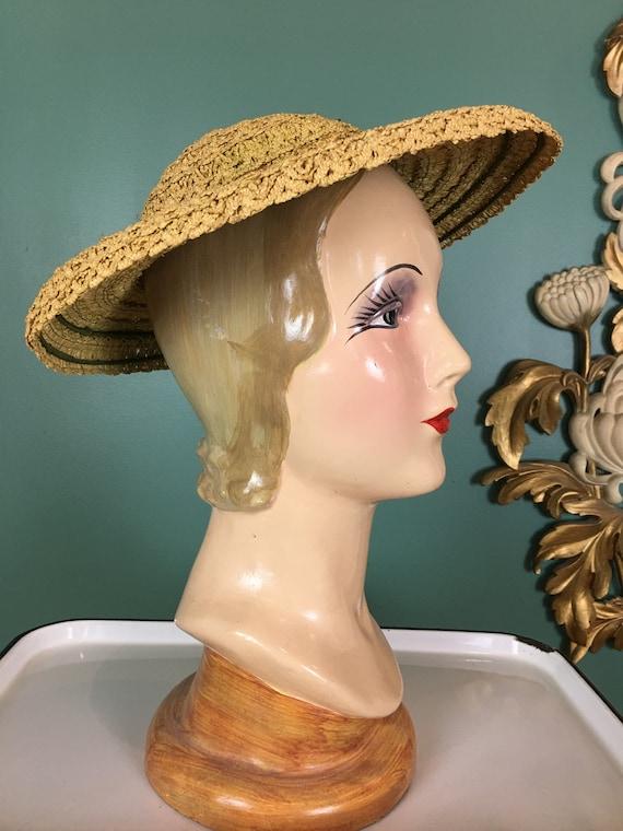 Laddie Northridge hat, platter hat, 1940s hat, str