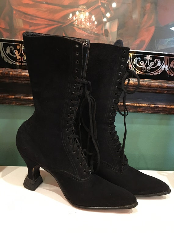 victorian boots, black suede boots, witch boots, g