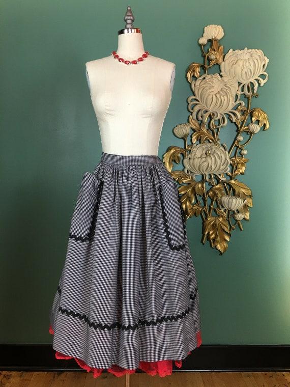 1950s cotton skirt, black and white gingham, vinta