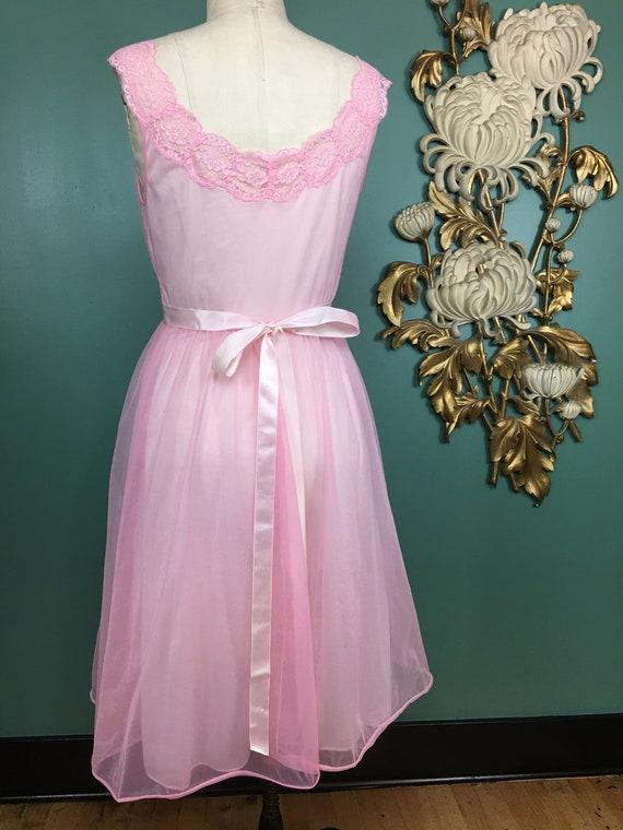 1960s nightgown, pink nylon nightgown, vanity fai… - image 9