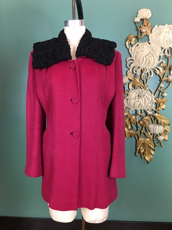 1940s wool jacket, vintage 40s coat, magenta wool,