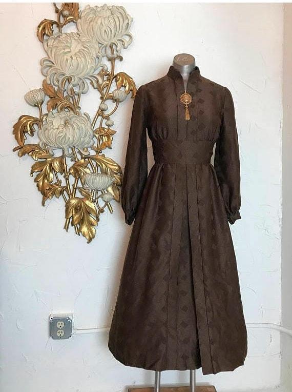 1960s mod dress, 60s brown dress, long sleeve dres