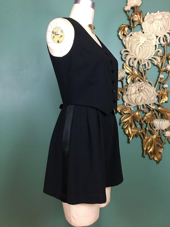 1980s romper, black rayon romper, menswear style,