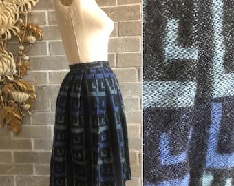 Vintage skirt 1950s skirt wool skirt pleated skirt size small tami skirt blue skirt greek key skirt full skirt 1960s skirt high waist skirt