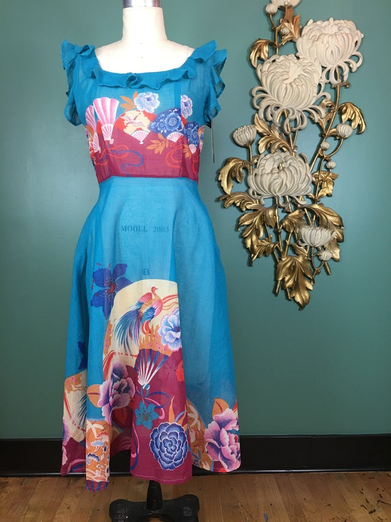 1970s cotton dress, novelty print dress, vintage 7