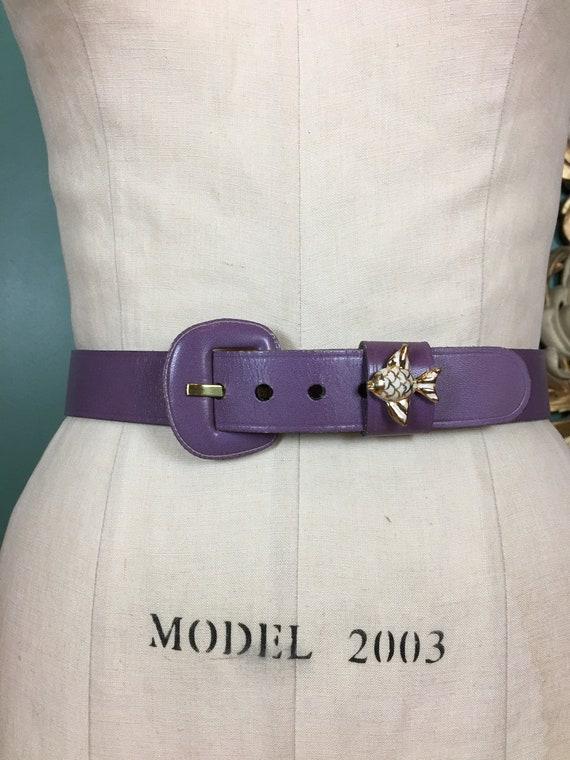 purple leather belt, 1950s novelty belt, Calderon… - image 1