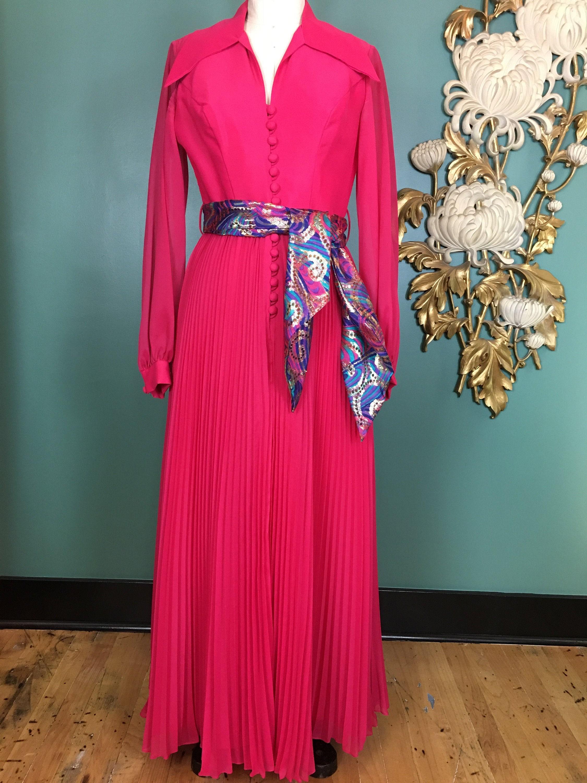 Vintage Scarf Styles -1920s to 1960s 1960S Maxi Dress, Hot Pink Chiffon, Vintage 60S Accordion Pleat, Medium, Evening Gown, Sheer Magenta, Hostess 28 Waist $24.00 AT vintagedancer.com