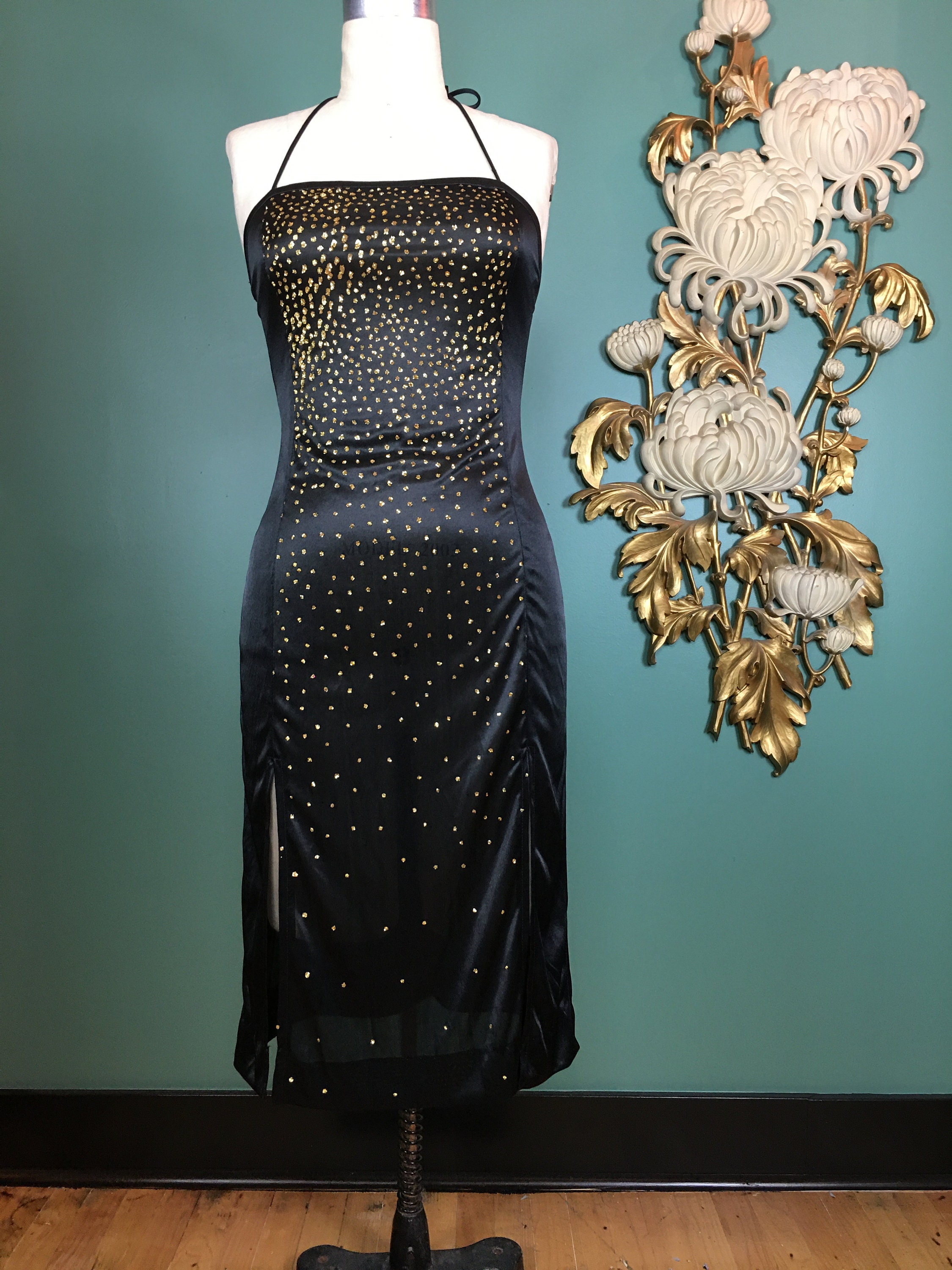 80s Dresses | Casual to Party Dresses 1970S Halter Dress, Gold Glitter Disco Size Small, Dress By Funky, Vintage 70S Slinky Black 26 Waist, Metallic $17.00 AT vintagedancer.com