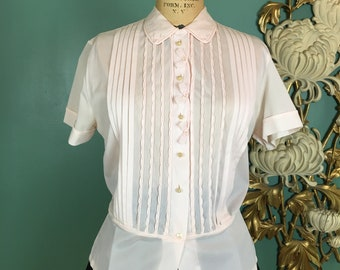 1950s blouse, pale pink nylon, vintage 50s shirt, pin tucked blouse, debcraft, size medium, bows and pearls, 36 bust, rockabilly, mrs maisel