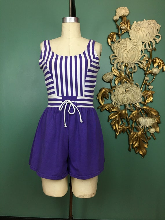 1980s cotton romper, purple striped shorts, vintag