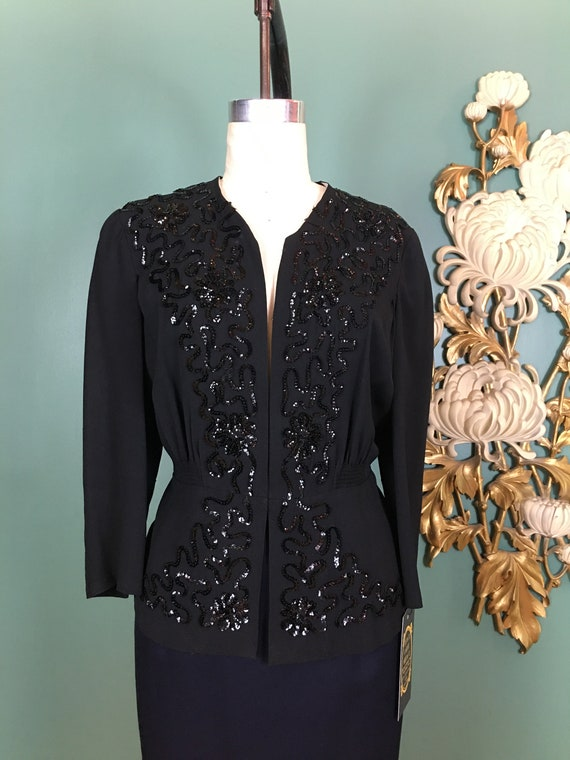 1940s blouse, black rayon crepe, sequin jacket, 40