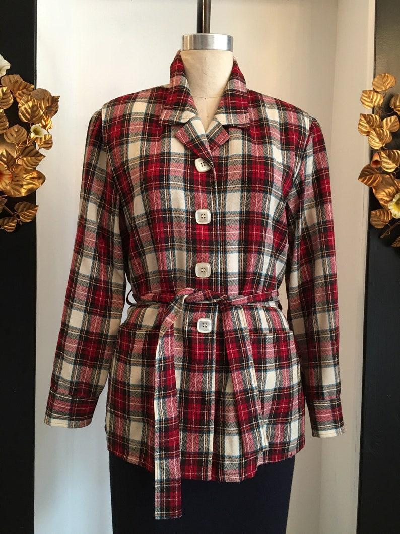 vintage 70s jacket red and ivory plaid lightweight wool 38 bust Pendleton jacket 70s belted blouse 49er style 1970s plaid jacket