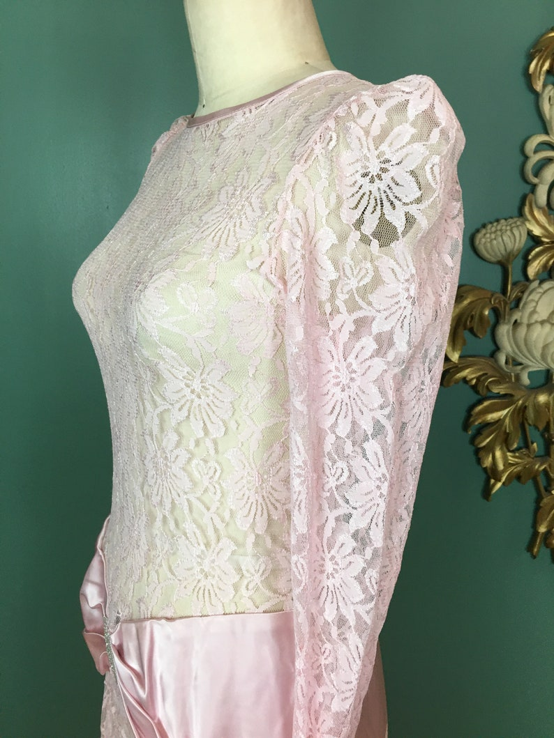 gunne style medium satin sash asymmetrical hem sheer lace dress 1980s prom dress vintage 80s dress puff shoulders drop waist dress