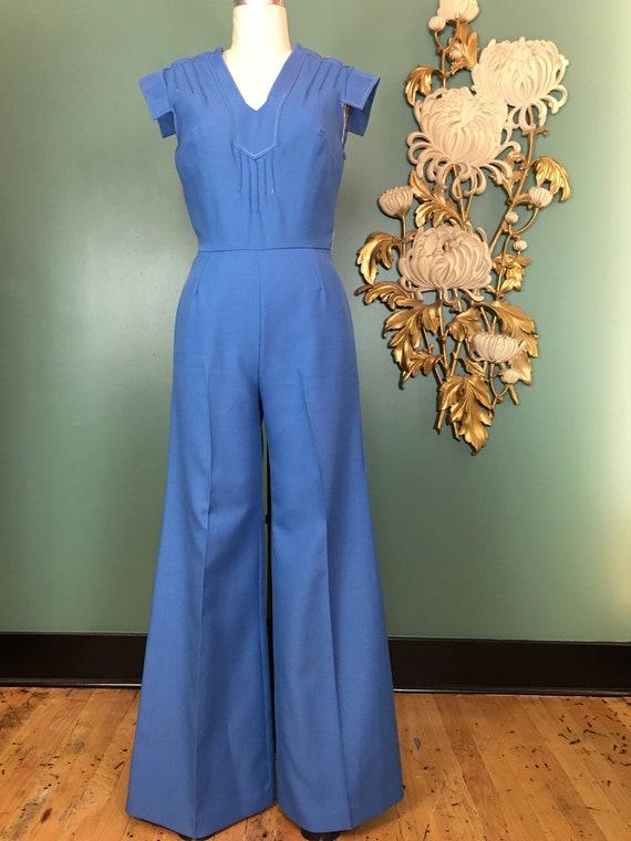 1970s jumpsuit, blue polyester, vintage jumpsuit,