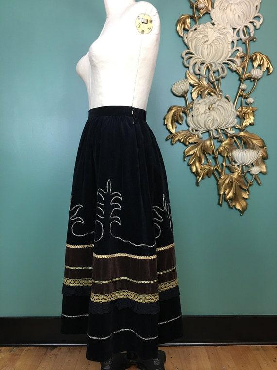 prue acton skirt, vintage 80s skirt, black velvet… - image 9