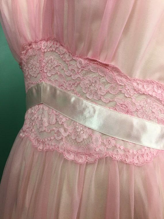 1960s nightgown, pink nylon nightgown, vanity fai… - image 7