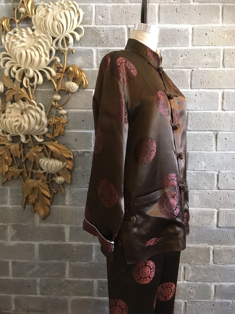 Vintage Asian PJs Brown silk pajamas pajama set size  c65344c7b