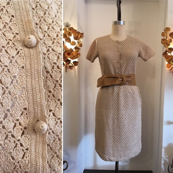 1970s skirt set, vintage crochet dress, 70s two pi