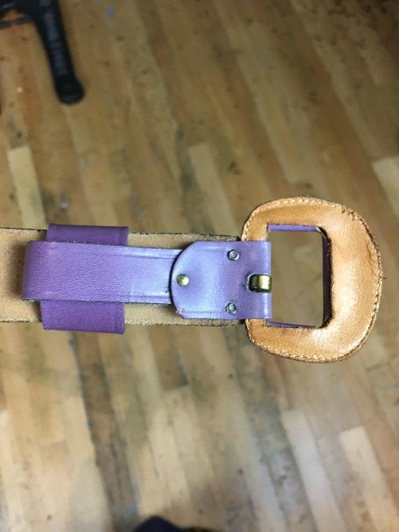 purple leather belt, 1950s novelty belt, Calderon… - image 9