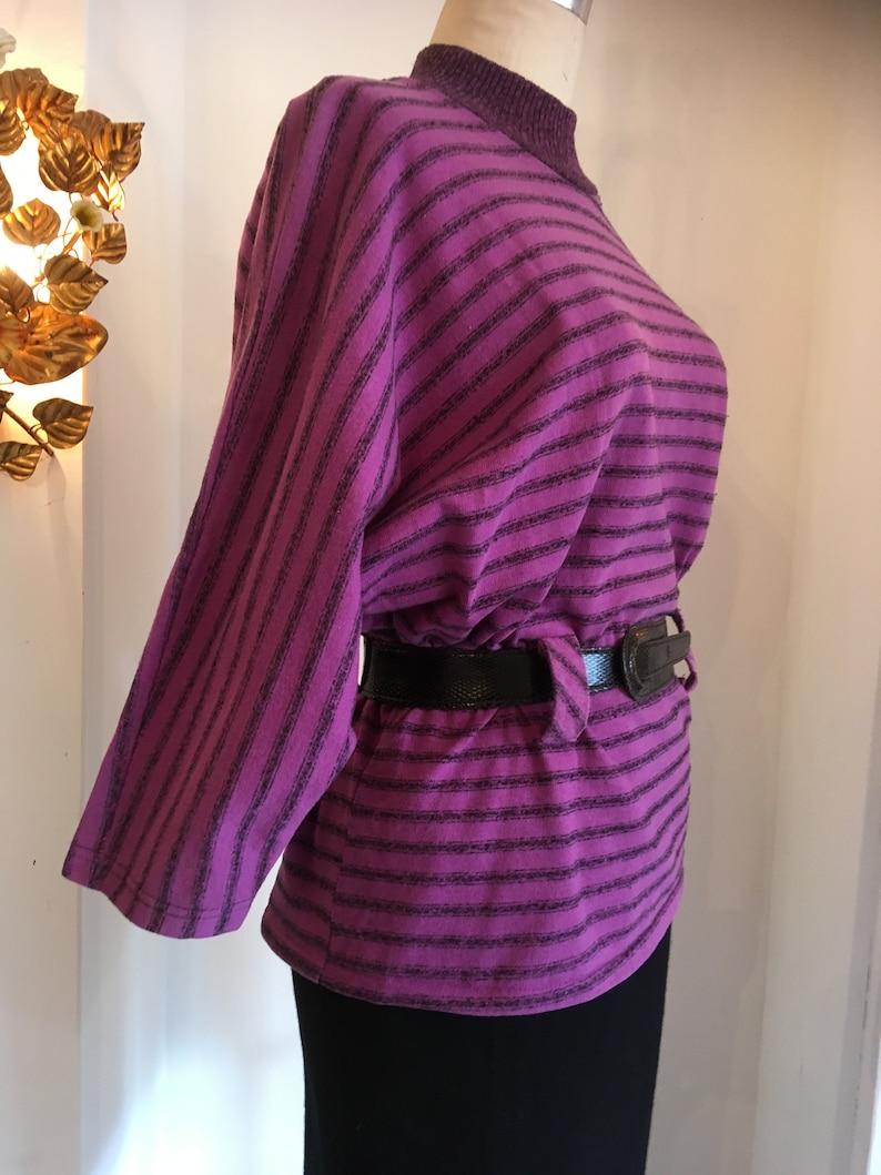 dolman sleeves vintage 80s top size medium 1980s purple top black and purple striped belted top mockneck 1980s long sleeve t shirt