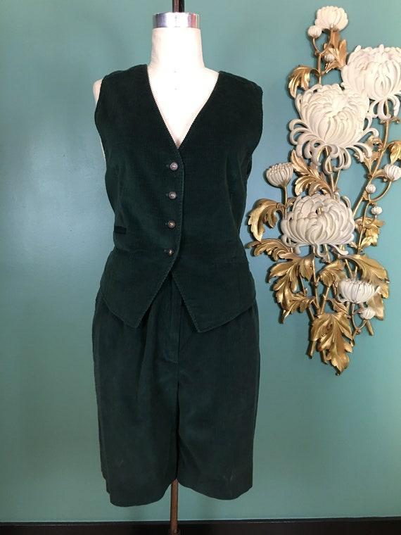 1980s 2 piece set, vest and shorts, vintage shorts
