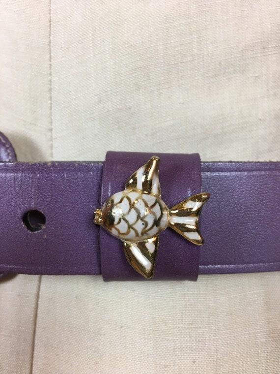 purple leather belt, 1950s novelty belt, Calderon… - image 4