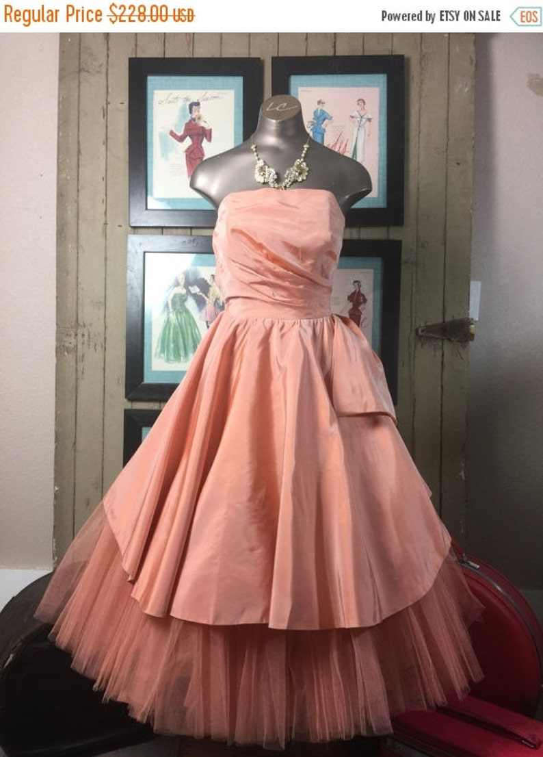 50s tulle dress 1950s prom dress 1950s party dress bridesmaid dress Vintage 50S dress Will Steinman size x small 24 waist